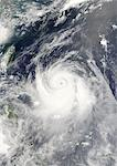 Typhoon Ewiniar, Pacific Ocean, In 2006, True Colour Satellite Image. Typhoon Ewiniar on 7 July 2006 over the Pacific ocean. True-colour satellite image using MODIS data. Stock Photo - Premium Rights-Managed, Artist: Universal Images Group, Code: 872-06053865