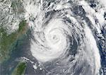 Typhoon Nari, Taiwan, China, Asia, In 2001, True Colour Satellite Image. Typhoon Nari in September 2001 northeast of Taiwan and west of Shanghai, China. True-colour satellite image using MODIS data. Stock Photo - Premium Rights-Managed, Artist: Universal Images Group, Code: 872-06053871
