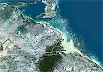 Orinoco Delta, Venezuela, True Colour Satellite Image. True colour satellite image of the Orinoco Delta in eastern Venezuela, The Orinoco river flows into the Atlantic ocean. At top is the island of Trinidad in the Caribbean sea. Composite image using LANDSAT 5 data. Stock Photo - Premium Rights-Managed, Artist: Universal Images Group, Code: 872-06053913