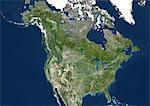 United States (Alaska Incl.) And Canada, True Colour Satellite Image. USA (Alaska incl.) and Canada, true colour satellite image. This image was compiled from data acquired by LANDSAT 5 & 7 satellites. Stock Photo - Premium Rights-Managed, Artist: Universal Images Group, Code: 872-06054000