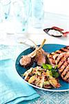 Lamb Chops with Seafood Salad and Grilled Bruschetta Stock Photo - Premium Royalty-Free, Artist: Jodi Pudge, Code: 600-06059777