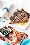 Barbecued Shrimp and Pork Chop Stock Photo - Premium Royalty-Free, Artist: Jodi Pudge, Code: 600-06059782