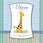 new baby announcement card with giraffe Stock Photo - Royalty-Free, Artist: balasoiu                      , Code: 400-06060633