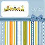 delicate baby boy shower card Stock Photo - Royalty-Free, Artist: balasoiu                      , Code: 400-06060652