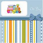 delicate baby boy shower card Stock Photo - Royalty-Free, Artist: balasoiu                      , Code: 400-06060655