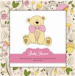 new baby announcement card with teddy bear Stock Photo - Royalty-Free, Artist: balasoiu                      , Code: 400-06060659