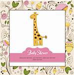 new baby announcement card with giraffe Stock Photo - Royalty-Free, Artist: balasoiu                      , Code: 400-06060660