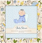 delicate baby boy shower card Stock Photo - Royalty-Free, Artist: balasoiu                      , Code: 400-06060665