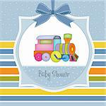 delicate baby boy shower card Stock Photo - Royalty-Free, Artist: balasoiu                      , Code: 400-06060670
