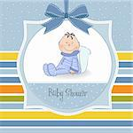 delicate baby boy shower card Stock Photo - Royalty-Free, Artist: balasoiu                      , Code: 400-06060679