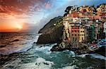 Sunset stormy light in Riomaggiore, Cinque Terre, Italy Stock Photo - Royalty-Free, Artist: rechitansorin                 , Code: 400-06060687