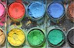 Very old used water color paint box top down view Stock Photo - Royalty-Free, Artist: Danicek                       , Code: 400-06061391