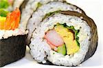 close-up shot of traditional fresh Japanese sushi roll on the white background Stock Photo - Royalty-Free, Artist: yuriz                         , Code: 400-06061409