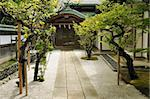 scenic way among green trees to the Japanese temple entrance Stock Photo - Royalty-Free, Artist: yuriz                         , Code: 400-06061415