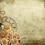 Wedding vintage romantic background with roses and clock