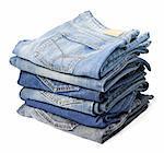 Jeans trousers stack on white background Stock Photo - Royalty-Free, Artist: donatas1205                   , Code: 400-06063575