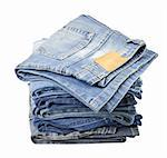 Jeans trousers stack on white background Stock Photo - Royalty-Free, Artist: donatas1205                   , Code: 400-06063576