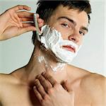 portrait of shaving man Stock Photo - Royalty-Free, Artist: phbcz                         , Code: 400-06064304