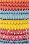 Stack of Vibrant Cupcake Wrappers Close Up Background. Stock Photo - Royalty-Free, Artist: brookebecker                  , Code: 400-06065283