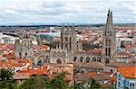 Bird's Eye View on the Spanish City of Burgos and the Cathedral