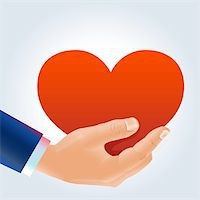 Man's hand holding deep red heart in a proposal way Stock Photo - Royalty-Freenull, Code: 400-06066270