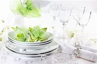 Luxury place setting for wedding in white and green tone Stock Photo - Royalty-Freenull, Code: 400-06066806