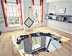 broken  floor of a residential apartment (illustrated concept) Stock Photo - Royalty-Free, Artist: vicnt                         , Code: 400-06066894