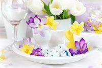 Place setting for Easter with crocuses and Easter eggs Stock Photo - Royalty-Freenull, Code: 400-06068456