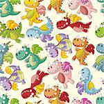 cartoon fire dragon seamless pattern Stock Photo - Royalty-Free, Artist: notkoo2008                    , Code: 400-06068558