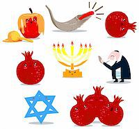A pack of Vector illustrations of famous Jewish symbols for the Jewish Holidays New Year and Yom Kipur. Stock Photo - Royalty-Freenull, Code: 400-06069331