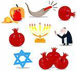 A pack of Vector illustrations of famous Jewish symbols for the Jewish Holidays New Year and Yom Kipur. Stock Photo - Royalty-Free, Artist: LironPeer, Code: 400-06069331