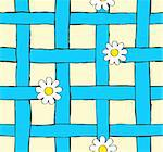 seamless daisy and blue grid pattern vector illustration Stock Photo - Royalty-Free, Artist: Bradich                       , Code: 400-06070403
