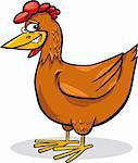 cartoon humorous illustration of funny farm chicken Stock Photo - Royalty-Free, Artist: izakowski                     , Code: 400-06071609