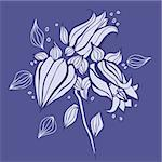 Beautiful purple flower. Hand drawn vector illustration Stock Photo - Royalty-Free, Artist: katyau                        , Code: 400-06071811