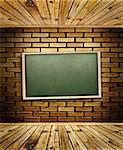 school blackboard at brick wall