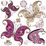 Set purple and gold vintage butterflies and flowers (vector) Stock Photo - Royalty-Free, Artist: OlgaDrozd                     , Code: 400-06072374