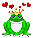 Cute Green Frog Prince with Crown Sitting Illustration Isolated on White Background with Flying Red Hearts Stock Photo - Royalty-Free, Artist: jpldesigns                    , Code: 400-06072528