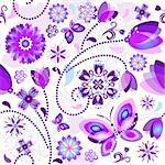 Seamless spring floral pattern with violet and blue translucent flowers and butterflies (vector EPS 10) Stock Photo - Royalty-Free, Artist: OlgaDrozd                     , Code: 400-06072529