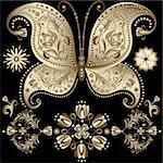 Set gold vintage butterflys and flowers on black (vector) Stock Photo - Royalty-Free, Artist: OlgaDrozd                     , Code: 400-06072530