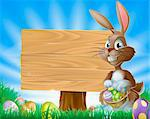 A cute Easter bunny rabbit character standing by a wooden sign holding a basket of decorated Easter eggs surrounded by Easter eggs in a field    Stock Photo - Royalty-Free, Artist: Krisdog                       , Code: 400-06072778