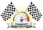 Concept - Winner, Champion. Detailed Car Speedometer with Flags and Ribbon, vector illustration Stock Photo - Royalty-Free, Artist: TAlex                         , Code: 400-06073199