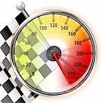 Concept - Winner, Champion. Detailed Car Speedometer with Maximum Speed and Flag, vector illustration Stock Photo - Royalty-Free, Artist: TAlex                         , Code: 400-06073201