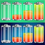 Battery Transparent Icons with Different Levels of Charge, vector illustration Stock Photo - Royalty-Free, Artist: TAlex                         , Code: 400-06073209