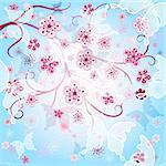Spring gentle background with pink flowers and  translucent butterflies (vector EPS 10) Stock Photo - Royalty-Free, Artist: OlgaDrozd                     , Code: 400-06073278