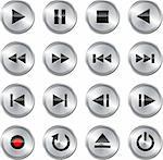 Metallic glossy multimedia control button/icon set. Vector illustration Stock Photo - Royalty-Free, Artist: gorgrigo                      , Code: 400-06073343