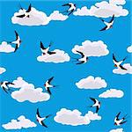 vector swallow flying to sky seamless background Stock Photo - Royalty-Free, Artist: 100ker                        , Code: 400-06073583