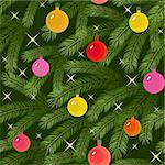 Christmas tree fir branch decorated with balloons seamless Stock Photo - Royalty-Free, Artist: 100ker                        , Code: 400-06073595
