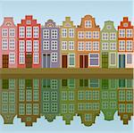Amsterdam houses on the canal bank seamless Stock Photo - Royalty-Free, Artist: 100ker                        , Code: 400-06073596