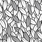 vector seamless abstract leaves background black and white