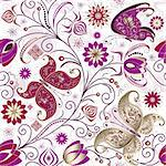 Vintage seamless pattern with butterflies, flowers and berries (vector) Stock Photo - Royalty-Free, Artist: OlgaDrozd                     , Code: 400-06073637